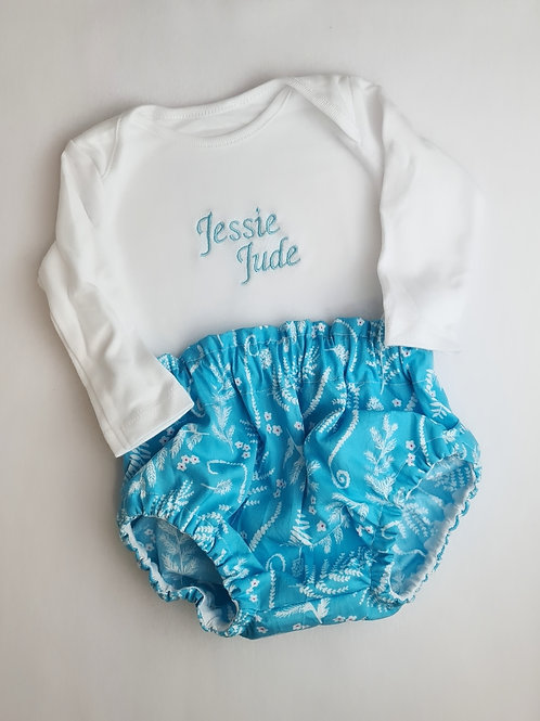 PERSONALISED VEST TOP AND FLORAL BLUE BLOOMERS