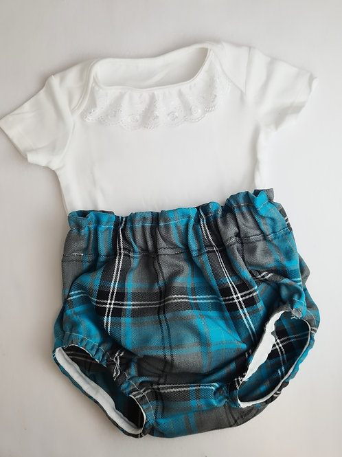 VEST TOP AND BLUE TARTAN BLOOMERS