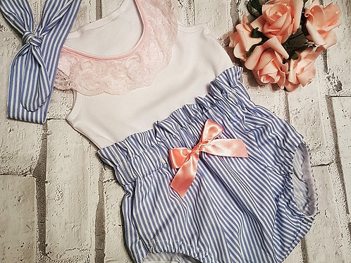 Blue pin stripe bloomers with bow, pink lace vest and head wrap