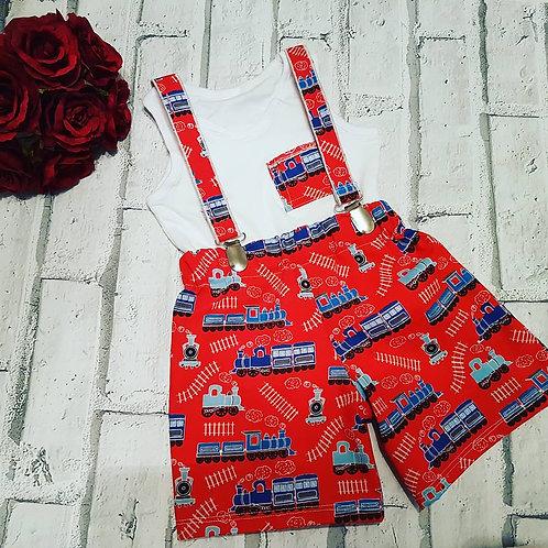 Red trains boys braced shorts, pocket vest top set