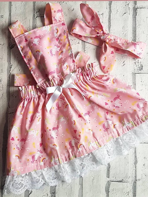 Unicorn Pink Laced Pinafore and headwrap
