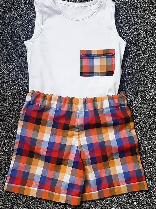 boys vest and shorts set, chequed