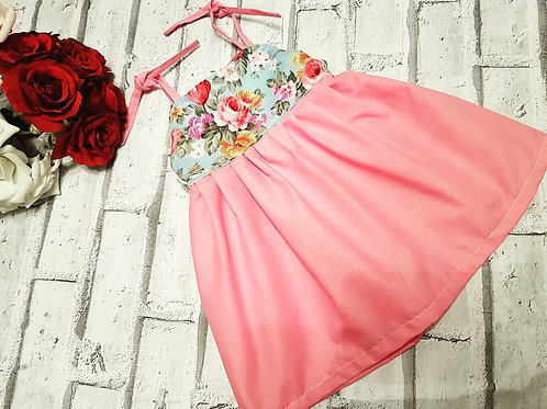 100% cotton, plain pink and floral bodice dress