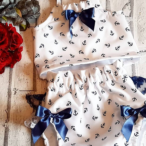 Sailor print lined crop top and bloomer set - navy and white