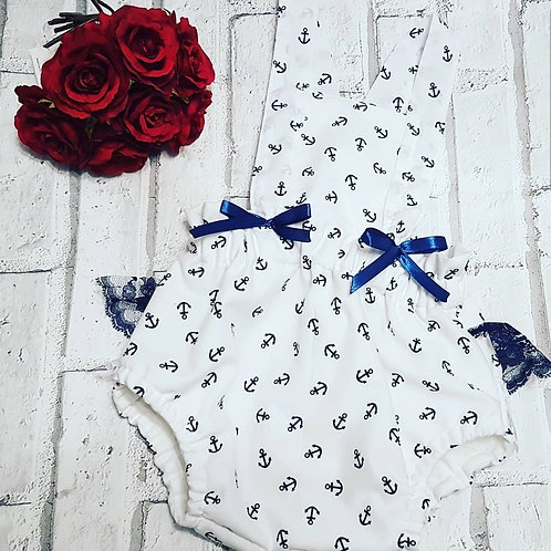 Sailor print white and navy romper with extras