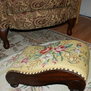 Turn of the Century needlepoint foot stool