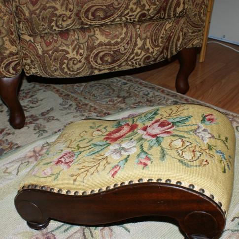 Turn of the Century needlepoint foot stool