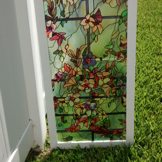 Faux Stained Glass for portico