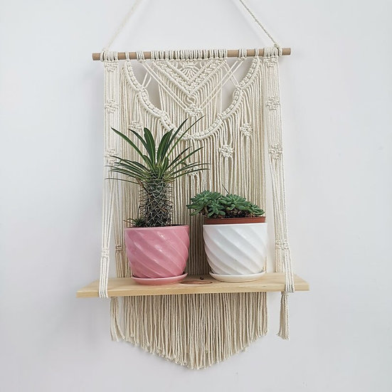 Home Decor Plant Tapestry Wall  Hand-Woven Macrame Tassels  Decoration Shelf