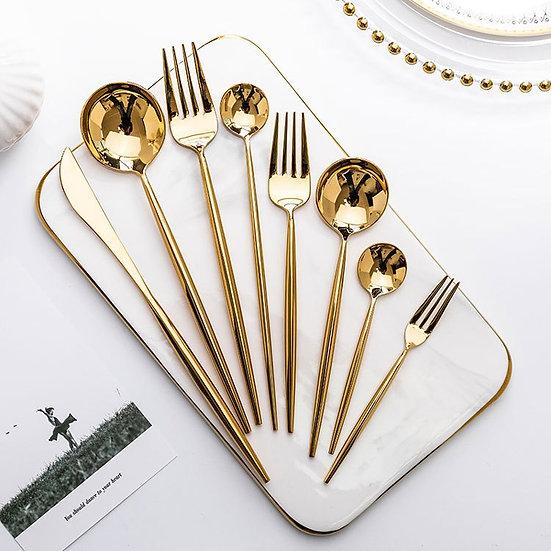 Mirror Gold Forks Spoons Knives Tableware Steel Cutlery Set Stainless Steel