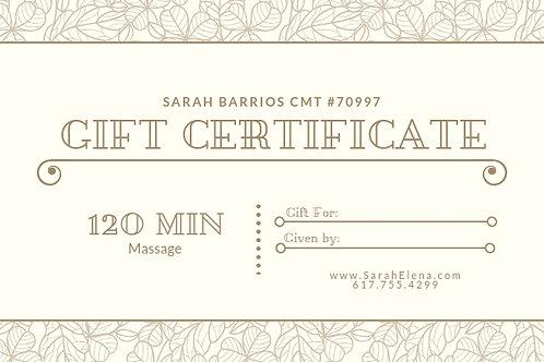 120 Min. Massage Gift Certificate