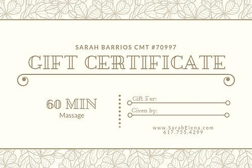 60 Min. Massage Gift Certificate