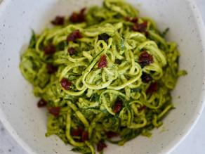 Zucchini Spaghetti w/ Kale Pesto