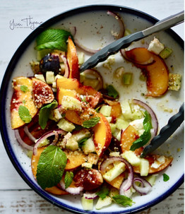 Greek Salad with Peaches & Figs