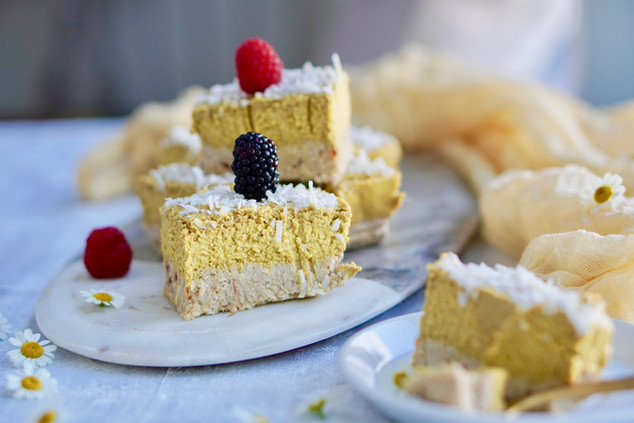 Raw Mango Mousse w/ Tahini Crust Cake