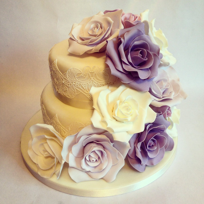 Rose and Lace Wedding Cake