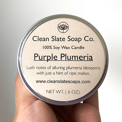 Purple Plumeria Soy Candle