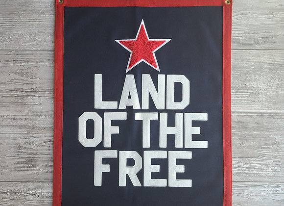 LAND OF THE FREE Letterman Banner