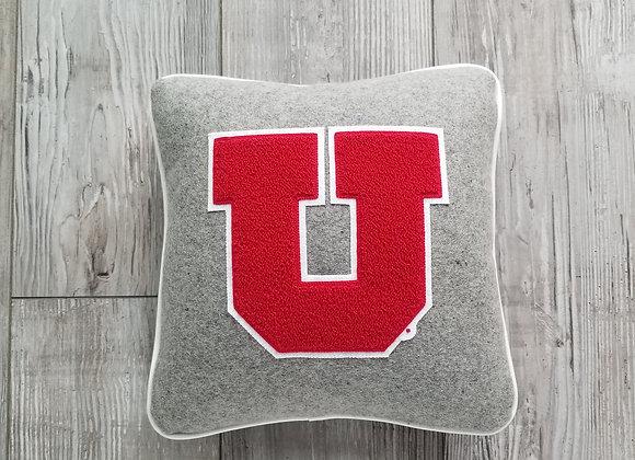 University of Utah Block U Gray Letterman Pillow