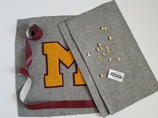 Classic letterman pillow featring vintage chenille letters, chenille patches