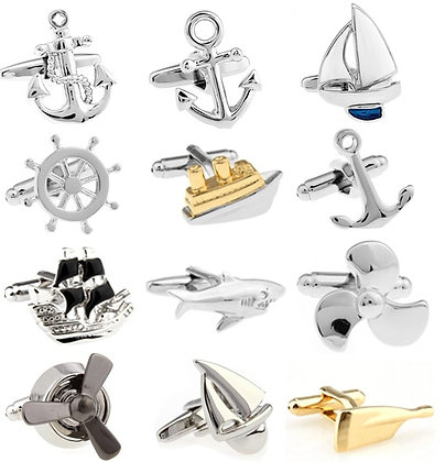 Cufflinks Silver Color Anchor Design Copper Material
