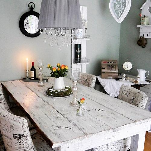 Shabby Landhaus Esstisch Nordisch Tisch Massiv ♥Esszimmer Küche, Altweiß  Unikat