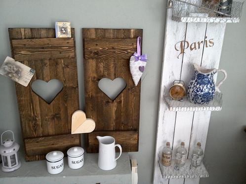 SET 2 Fensterladen vintage braun Herz ♥HOLZ Deko,Garten,Esszimmer ...