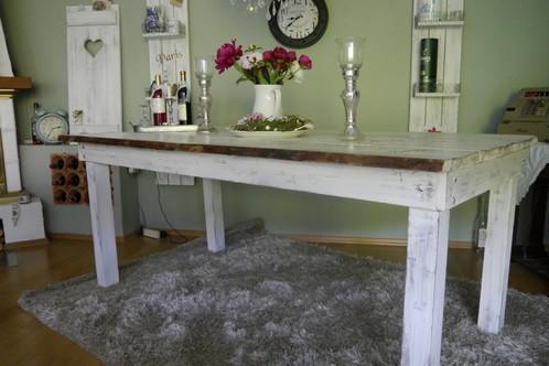 shabby landhaus esstisch nordisch tisch massiv ♥esszimmer küche ... - Küchentisch Shabby Chic