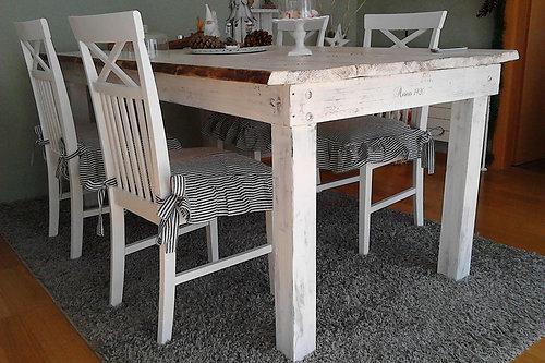 Shabbyhome | Shabby-Landhaus Esstisch Nordisch Tisch Massiv