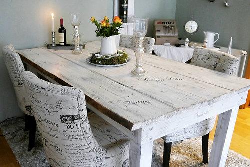 Shabby Landhaus Esstisch Nordisch Tisch Massiv ♥ Esszimmer Küche, Altweiß
