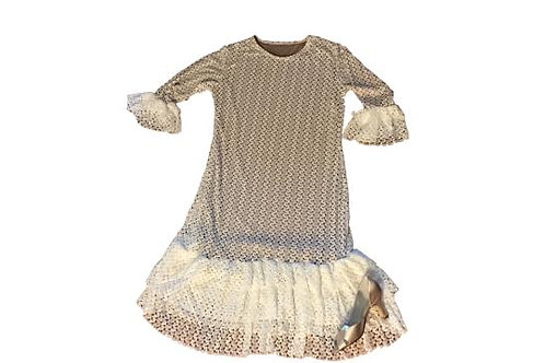 Lace Mini Patty White Crochet Lace over Charcoal Lining