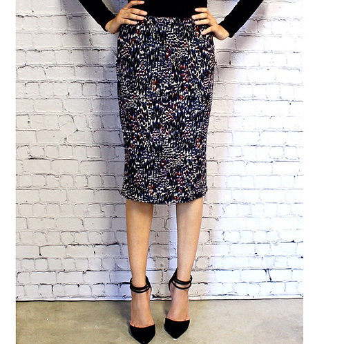 Pencil Skirt Navy Feathers