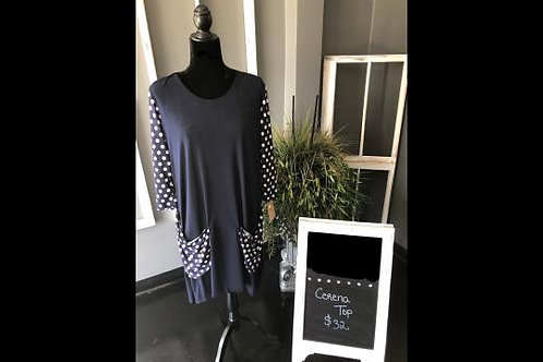 Cerena Top in Navy Blue with Navy n White Polka Dots