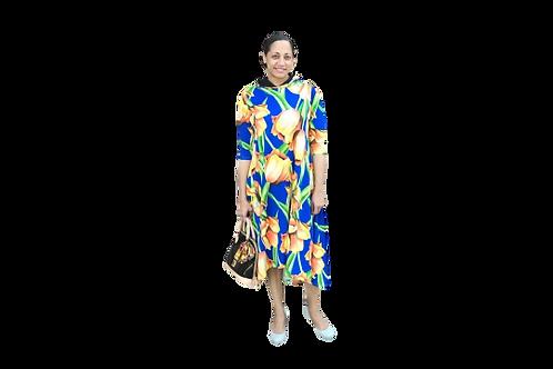 Celoa Hoodie Pocketed Dress In Blue Scuba