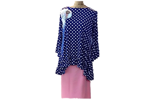 Mallory Top in Navy with White Polka Dots
