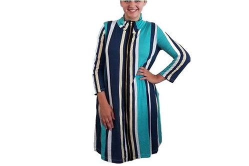 Fiona Jacket/Dress in Blue Vertical Stripes