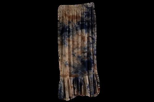 Single Ruffle Skirt in Tan/Navy Tie Dye