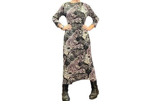 Jessica Dress in Purple, Black n White Animal Print