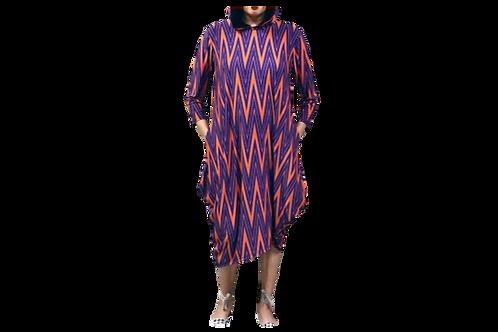 Celona Hoodie Pocket Dress in Navy and Orange Chevron