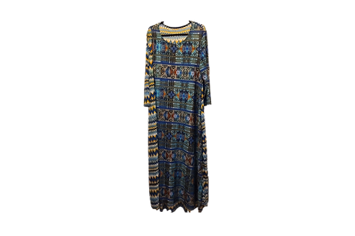 Melissa Maxi Dress in Tribal Blue with Contrasting Print