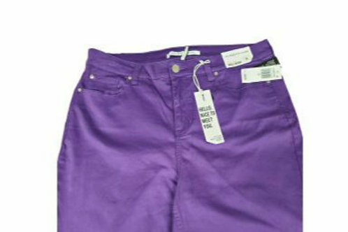 Stretch Denim Skirt in Purple