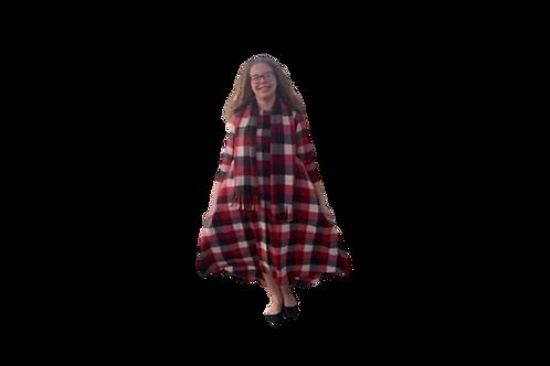 Victoria Dress W/Scarf in Plaid Flannel