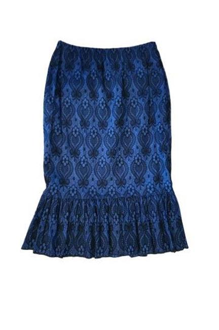 Single Ruffle Skirt in Stretch Denim Royal Blue n Black