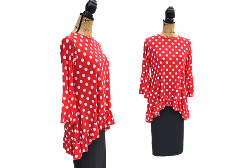 Mallory Top Red/White Polka Dot