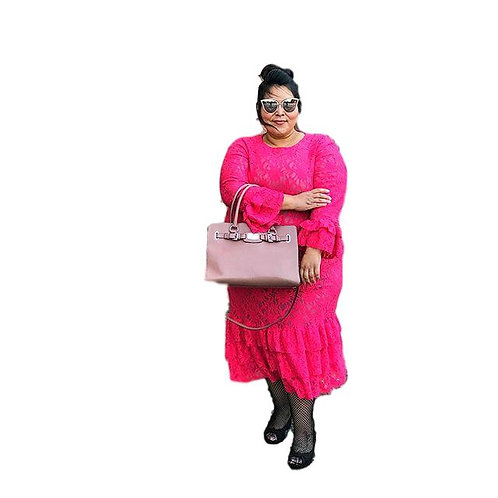 Lace Mini Patty Deep Pink over Pink