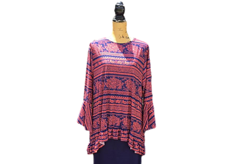 Mallory Top in Orange and Navy Paisley