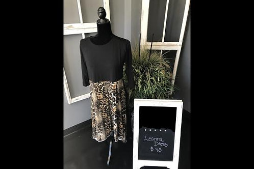 Leanna in Black with Soft Animal Print Contrast