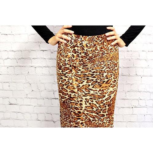 Pencil Skirt Brushed Cheetah