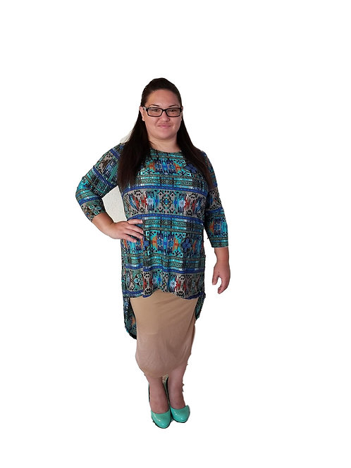 Brenda Top Tribal Teal