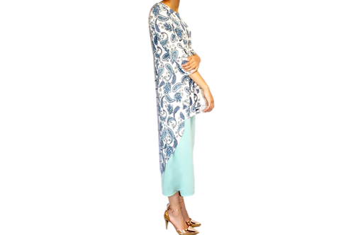 Brenda Top in Light Blue Paisley